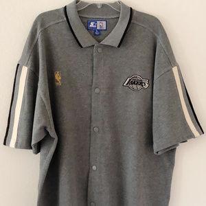 VTG 80s NBA LA Lakers Starter Snap Button XL Gray